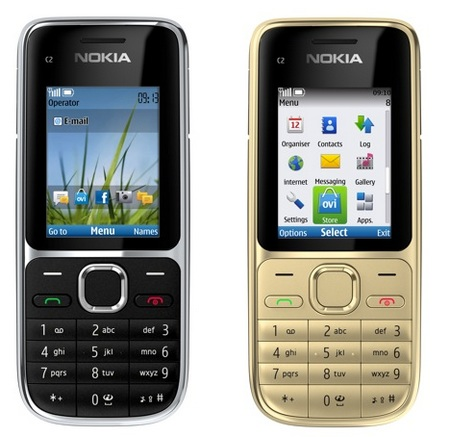 Nokia C2-01 Candybar Phone black gold