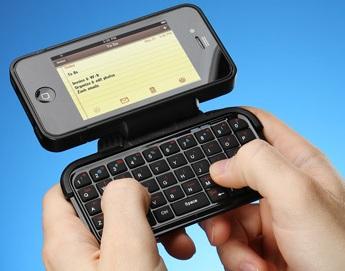 ThinkGeek TK-421 iPhone Keyboard Case on hand