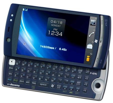 NTT DoCoMo Fujitsu LOOX F-07C Windows 7 Handset keyboard open