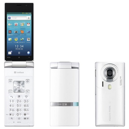 Softbank Sharp 007SH AQUOS PHONE THE HYBRID Clamshell runs Android white