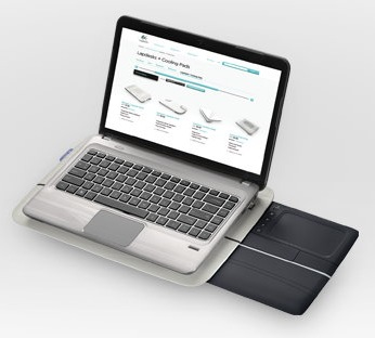 Logitech Touch Lapdesk N600 with Retractable Multitouch Touchpad in use