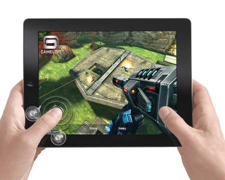 Logitech Joystick for iPad in use