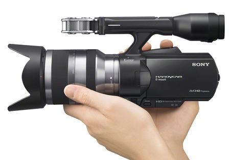 Sony Handycam NEX-VG20 Full HD Camcorder with Interchangeable Lenses on hand