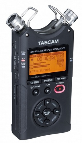 TASCAM DR-40 Handheld 4-Track Recorder angle