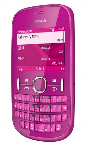 Nokia Asha 200 and Asha 201 S40 Phones with QWERTY Keyboard pink