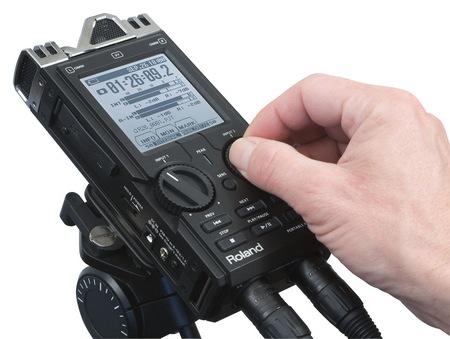 Roland R-26 Portable Audio Field Recorder on tripod