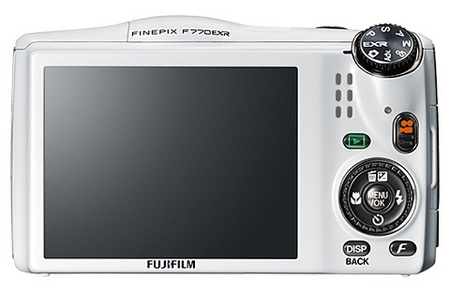 FujiFilm FinePix F770EXR with GPS Compact 20x zoom camera back white