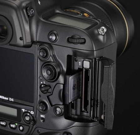 Nikon D4 Digital SLR memory card slot