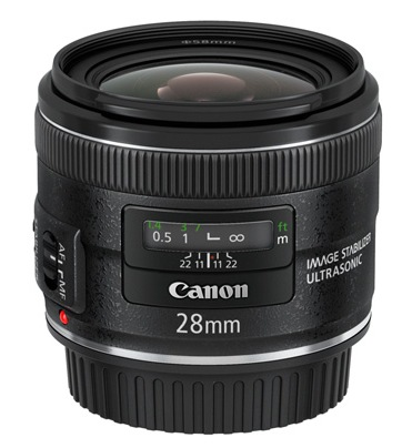 Canon EF 28mm f2.8 IS USM Lens with Optical Image Stabilization