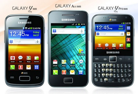 Samsung Galaxy Ace DUOS, Galaxy Y DUOS, Galaxy Y Pro DUOS Dual-SIM Android Phones