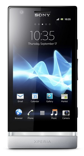 Sony Xperia P Smartphone with Aluminium Unibody and WhiteMagic Display front