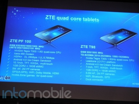 ZTE PF100 and T98 Quad-core Android ICS Tablets