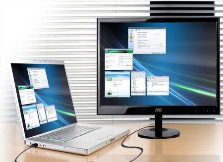 AOC e2251Fwu USB-powered LED-backlit LCD Monitor in use