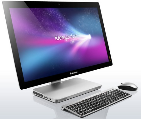 Lenovo IdeaCentre A720 Touchscreen All-in-One PC Folds Flat keyboard mouse