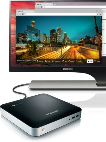 Samsung Series 3 Chromebox XE300M22-A01 mini PC connected