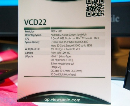 ViewSonic VCD22 22-inch Android Smart Display specs