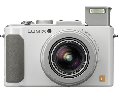 Panasonic LUMIX DMC-LX7 Digital Camera with F1.4 Lens white flash open