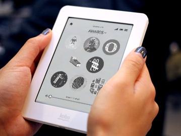 Kobo Mini 5-inch e-book reader on hand