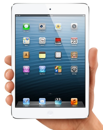 Apple iPad mini 7.9-inch Touchscreen, dual-core A5 lte 1080p video hand holding