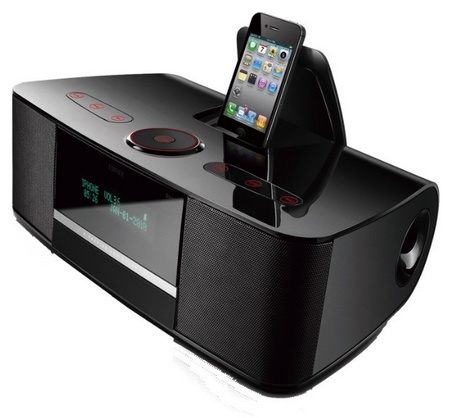 Edifier Esiena Bluetooth Speakers with iPhone ipod dock angle