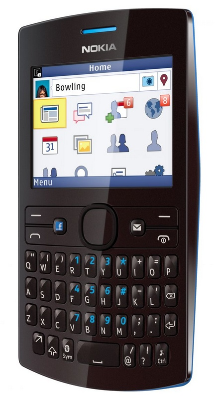 Nokia Asha 205 S40 qwerty phone facebook button black cyan