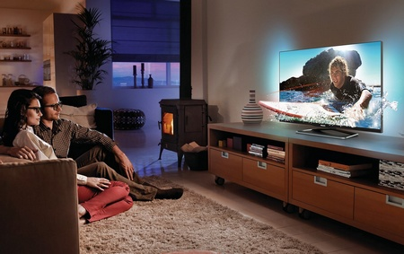 Philips PFL6900 Series Frameless Smart TVs in use
