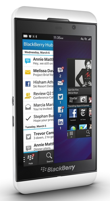 BlackBerry Z10 BB10 Smartphone white angle