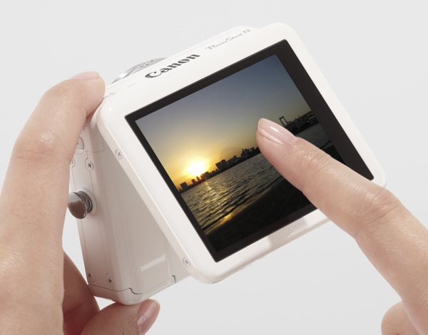Canon PowerShot N Camera in use touch panel