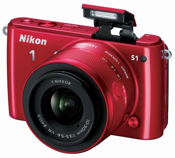 Nikon 1 S1 mirrorless camera red