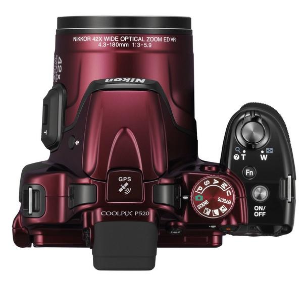 Nikon CoolPix P520 42x Ultra Zoom Camera top