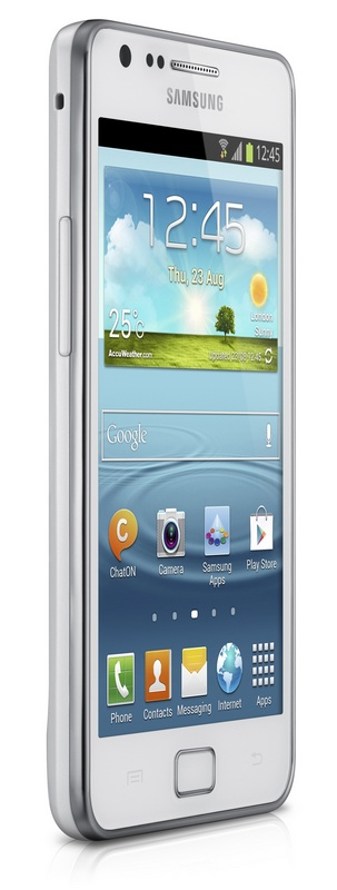 Samsung Galaxy S II Plus runs Android 4.1.2 Jelly Bean white angle