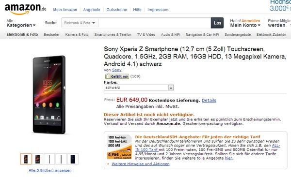 Sony Xperia Z Amazon Germany