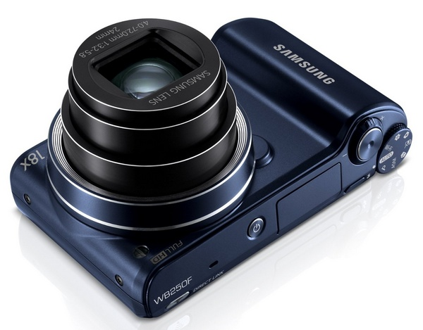Samsung WB250F Smart Camera with WiFi and Touchscreen angle