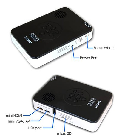 AAXA P2 Jr Pico Projector with HDMI input connectors