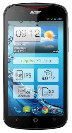 Acer Liquid E2 Quad-core Smartphone, Optional Dual-SIM black