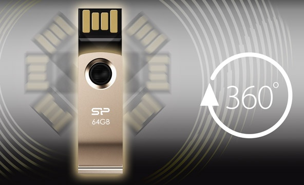 Silicon Power Touch T825 Clippable USB Flash Drive 360-degree connector
