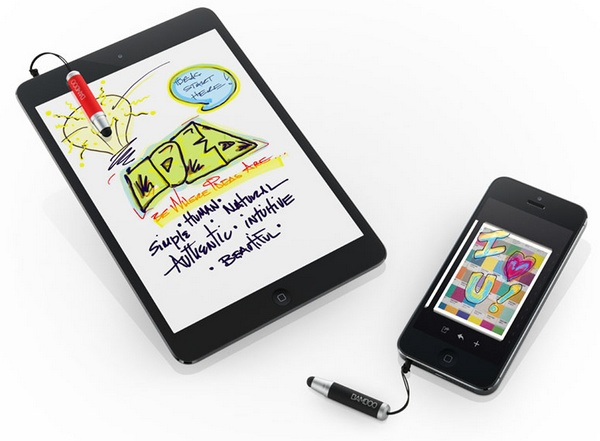 Wacom Bamboo Stylus mini for Smartphones and Tablets attached