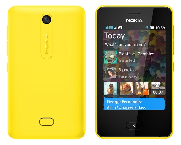 Nokia Asha 501 Feature Phone runs on Asha Platform yellow