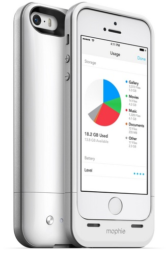 Mophie space pack is a battery case with built-in storage for iPhone 5 5s white