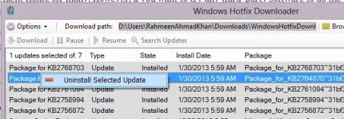 Uninstall Windows Hotfix Downloader Updates