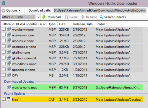Search Windows Hotfix Downloader