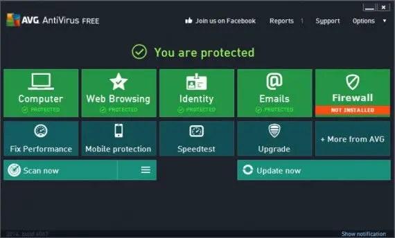 AVG Antivirus Free 2014 main interface