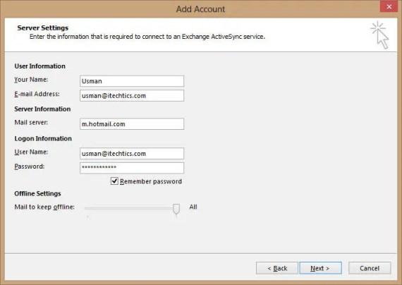 Exchange ActiveSync email configuration