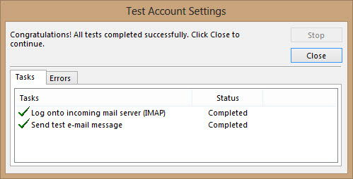 Outlook 2013 test account settings
