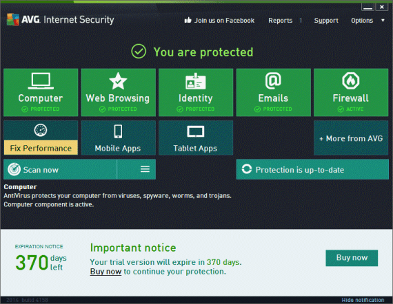 AVG Internet Security 2014 with one year free license