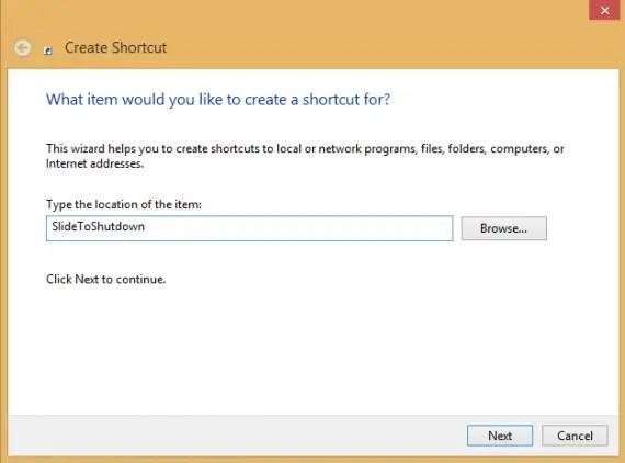 Create Shortcut Slide To Shutdown