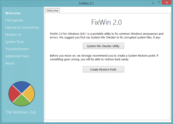 FixWin 2.0 Welcome 600x429 - 3 Must Have Tools To Fix Most Windows Problems Without Help Of A Techie