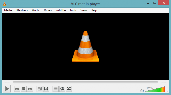 VLC Player with 125 volume increase