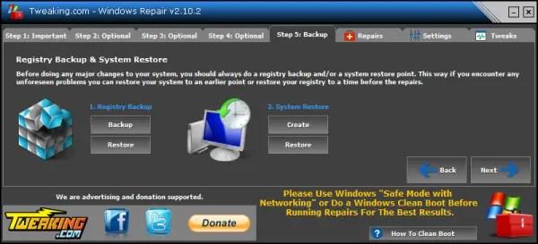 Windows Repair backup