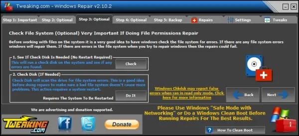 Windows Repair check disk